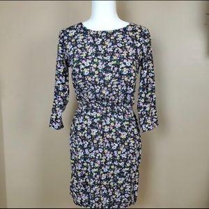 H&M Crew Neckline Black Floral Print Dress NWT